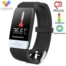 Lerbyee t1 rastreador de fitness temperatura do corpo ecg pulseira inteligente monitor de freqüência cardíaca relógio inteligente controle música esporte 2020 das mulheres dos homens