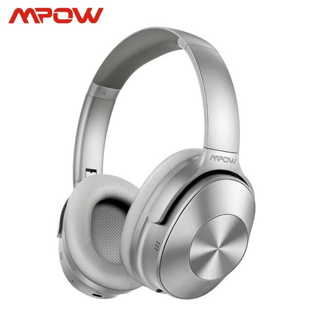 Mpow h12 fone de ouvido sem fio 2 em 1, headset híbrido bluetooth 5.0 com cancelamento de ruído ativo, tempo de reprodução 30h trabalho de viagem