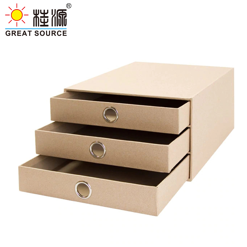 3 Layers Cabinet Cardboard Office Desk Top Organizer Home Storage 3 Drawers Cabinet Beige Faux Linen Natural Paper (2PCS)