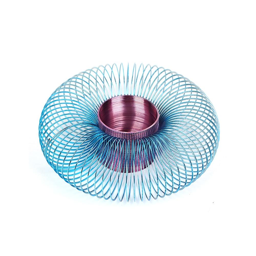 Металлический Радужный круг, забавные классические волнистые весенние круги, подарок для детей, научные игрушки, разноцветные 48x58 мм
