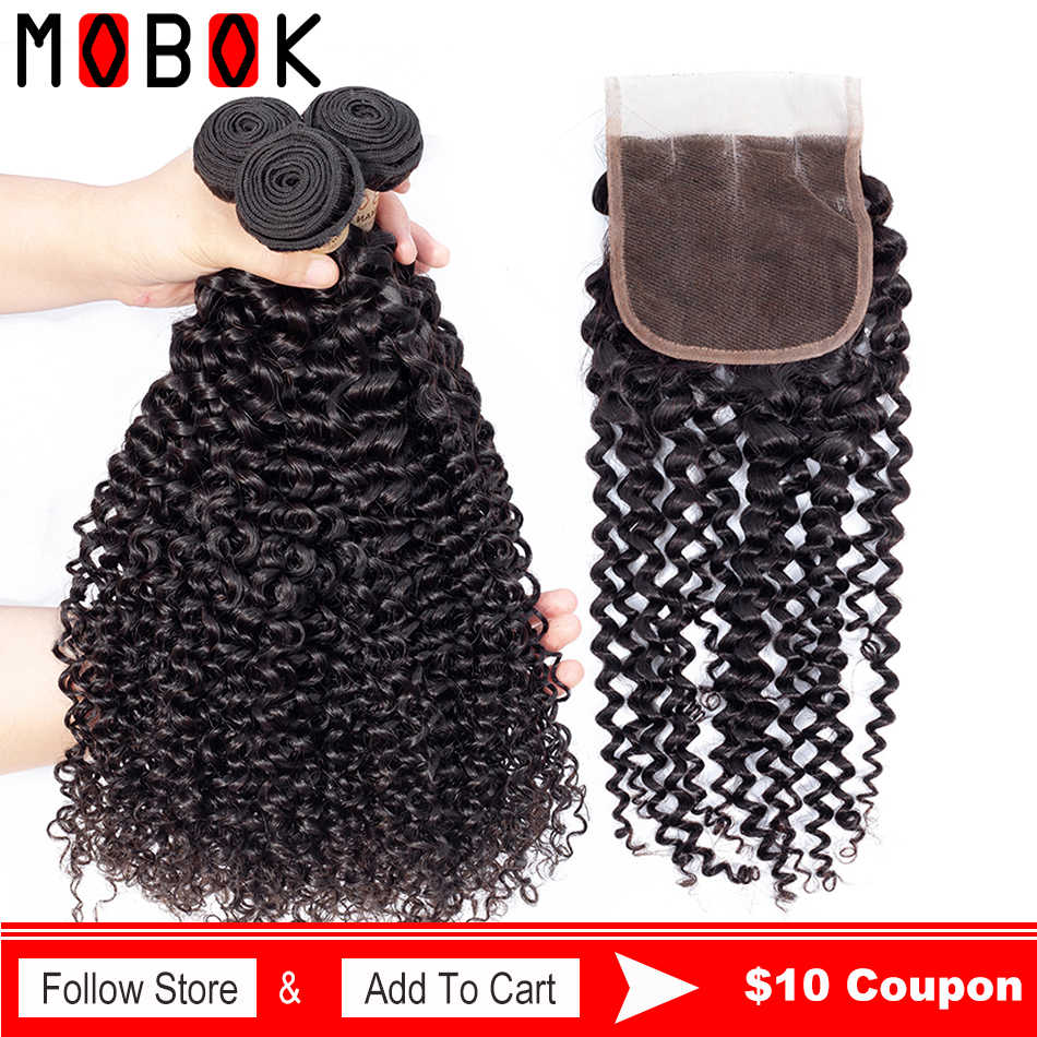 MOBOK Mongolian Kinky Curly Hair Weave 3 Bundles With Closure Human Hair Weaving With 4*4 Lace Closure Top Remy Mongolisan Hair