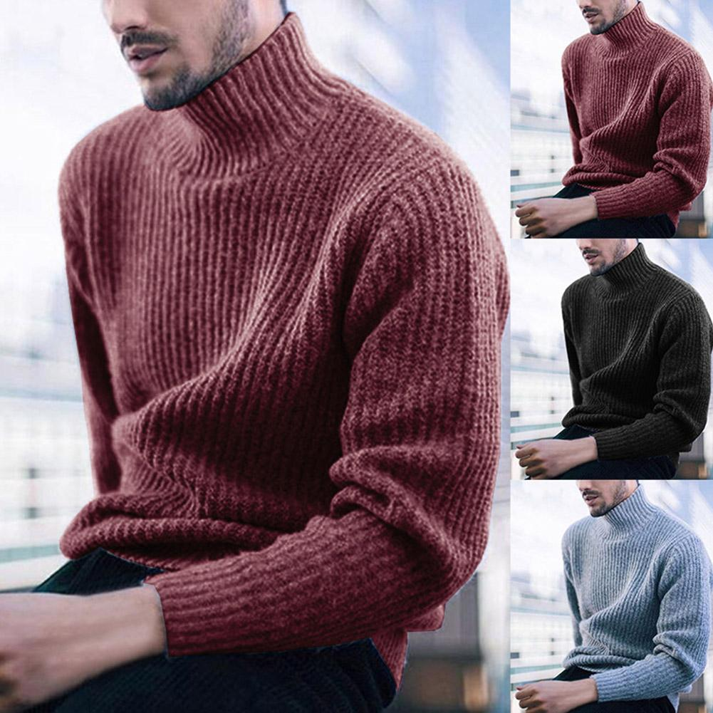 Hiver Hommes Chandail Marque Pull Fashion Men Solid Color Turtleneck Long Sleeve Casual Pullover Knitted Sweater Free Shipping