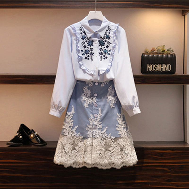Designer Spring Autumn 2020 Women Embroidery Flowers 2 Piece Set Sequined Shirt Top And A-line Skirt Suit Plus Size L-4XL