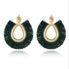 Vintage European and American fashion trend fringes multicolored fan shape retro earrings ear drop(China)