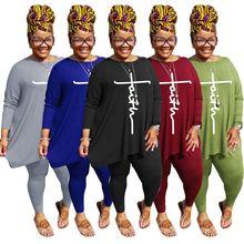 AYES Matching Sets Plus Size Casual Sport 2 Piece Set L-5XL Letter Print Women Set Autumn Loose Top+Pants Suit Tracksuit Outfits
