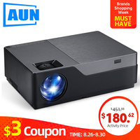AUN Full HD Projector M18UP, 1920x1080P, Android 6.0 WIFI LED Mini Projector for 4K Home Cinema, 3D Beamer. (Optional M18 AC3)