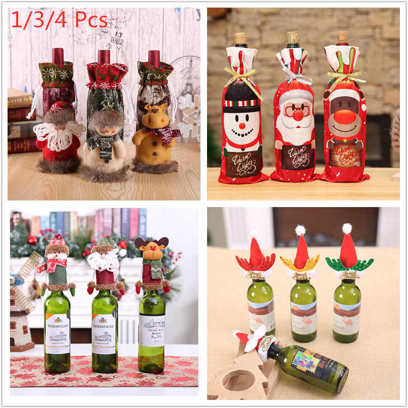 1/3/4Pcs Creative Christmas Red Wine Bottle Set Xmas Dinner Party Santa Claus Snowman Elk Bottle Cover Cloth Christmas Gift Bag