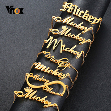Vnox Personalized Name Bracelets for Women Solid Stainless Steel in Gold Tone Customize Unique Wedding Gift Elegant BFF Bracelet