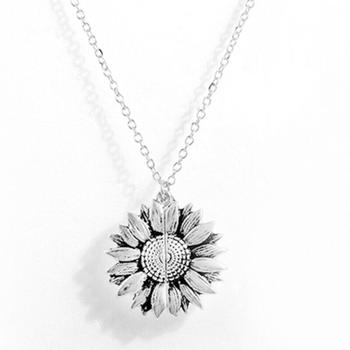 1pc Fashion Open Locket Sunflower Pendant Necklace Lettering Necklace Sunshine Accessories Gifts You For Women My Are Jewel H4T0 image