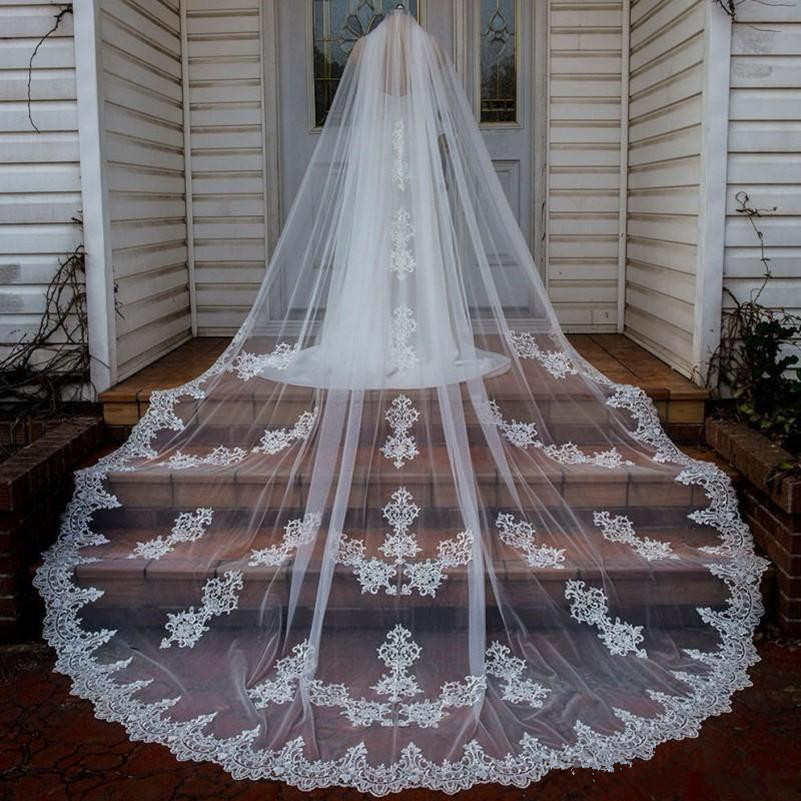 Cathedral Length Long Wedding Veils Custom Made White Ivory Champagne Bridal Veils With Comb Lace Appliqued Cheap Wedding Veil