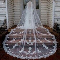 Velos de boda largos de longitud Catedral hechos a medida velos de novia de marfil blanco con peine con Apliques de encaje barato velo de boda