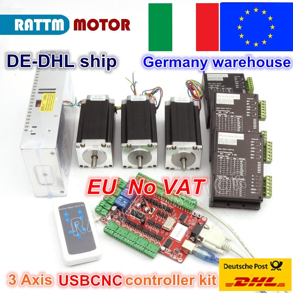 【EU】3 Axis Nema23 112mm Stepper Motor Dual Shaft 425oz CNC Kit 3A+CW5045 Driver