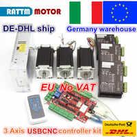 3 axes USB CNC kit de contrôleur de CNC Nema 23 moteur pas à pas (double arbre) 425oz-in 112mm 3A & Driver 40VDC 4A 128 microstep
