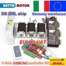 Juego de controladores USB de 3 ejes, Motor paso a paso Nema 23, eje Dual, 425ozin, 112mm, 3A y controlador, 40VDC, 4A, 128, microstep