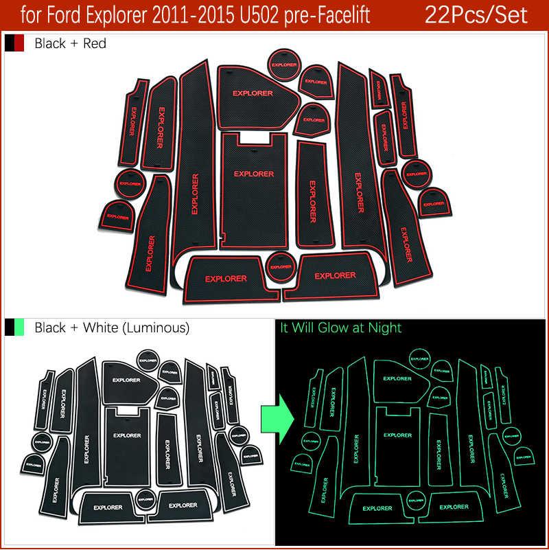 Anti-Slip Tikar untuk Ford Explorer 2011 2012 2013 2014 2015 MK5 U502 Digunakan Facelift Aksesoris Gate Slot coaster Anti-Dirty Pintu