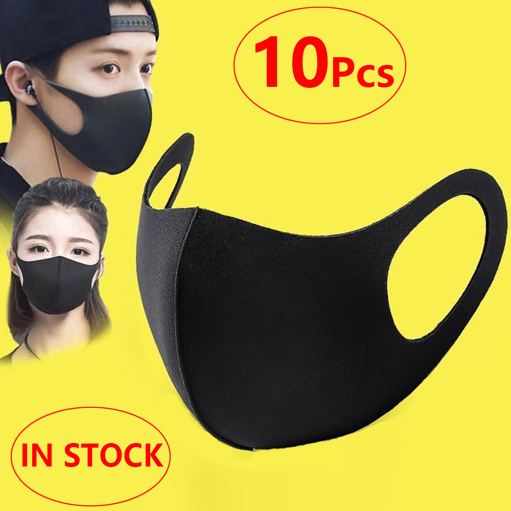 10Pcs/Pack Washable Mouth Mask Face Breathing Mask Cycling Anti Dust Environmental Mouth Mask Respirator Reusable Black Mask