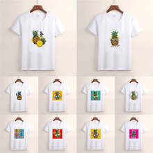 Summer Kawaii pineapple Fruit T-shirt Short Sleeve crewneck T-shirt Top Harajuku Ullzang T Shirt TX199()
