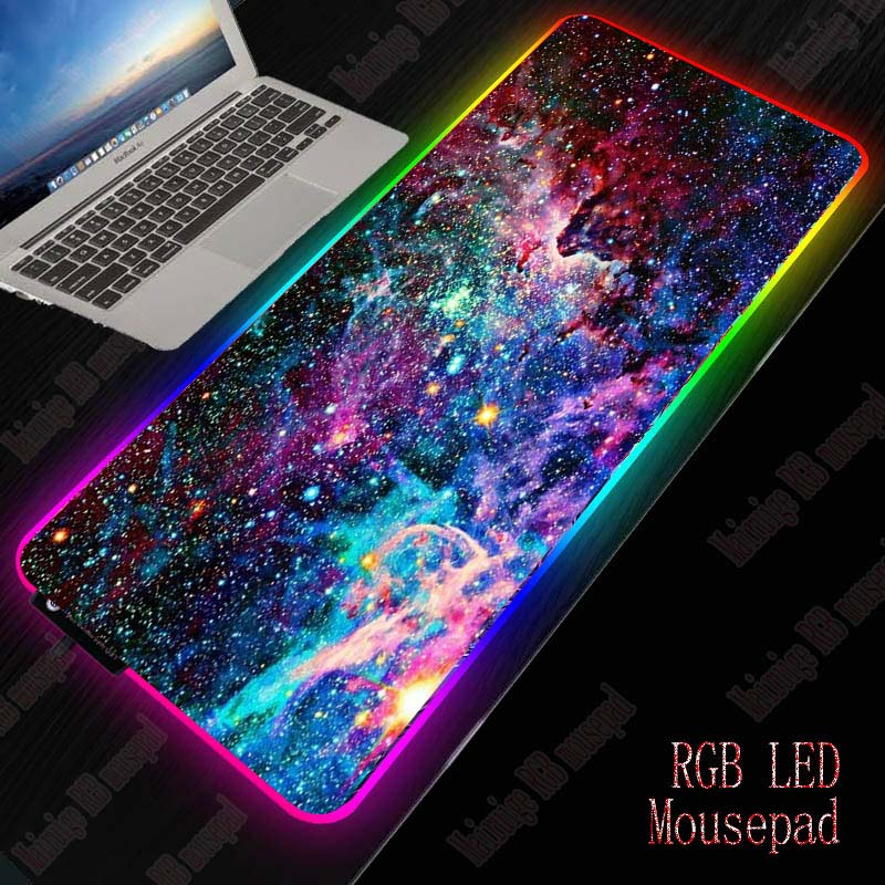 XGZ Space RGB Mouse Pad Gaming Mouse Pad Large Computer Mouse Pad Gamer XXL Mousepad LED Backlight Mause Pad Keyboard Desk Mat