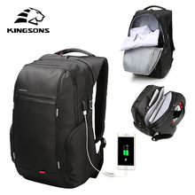 KINGSONS High Quality Laptop Backpack Men Women Fashion Business Casual Travel Backpack Shoulder Bag With External USB Charge