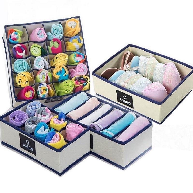 home bra storage box socks box bins underwear organizer box storage organizer dust cover storage bag(China)