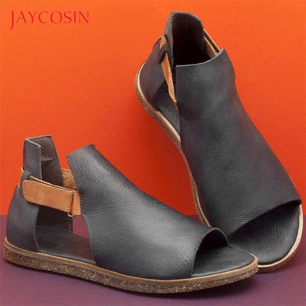 JAYCOSIN Summer Sandals Women Ladies Retro Vintage Flat Peep Toe Sandals Casual Shoes Woman Slip On Leisure Footwear sandalias 1 1