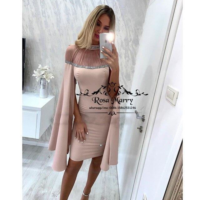 Blush Pink Caped Cheap Cocktail Party Dresses 2020 Sheath Plus Size Sequined Beaded Short Knee Length vestidos de fiesta de noch