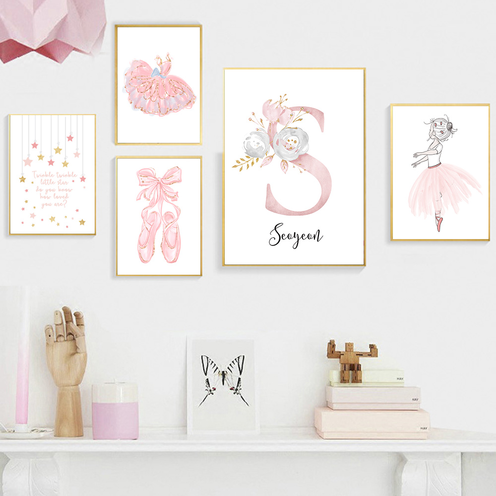 Personalised Name Print Unicorn Print Baby Name Girl Bedroom Print Wall Art