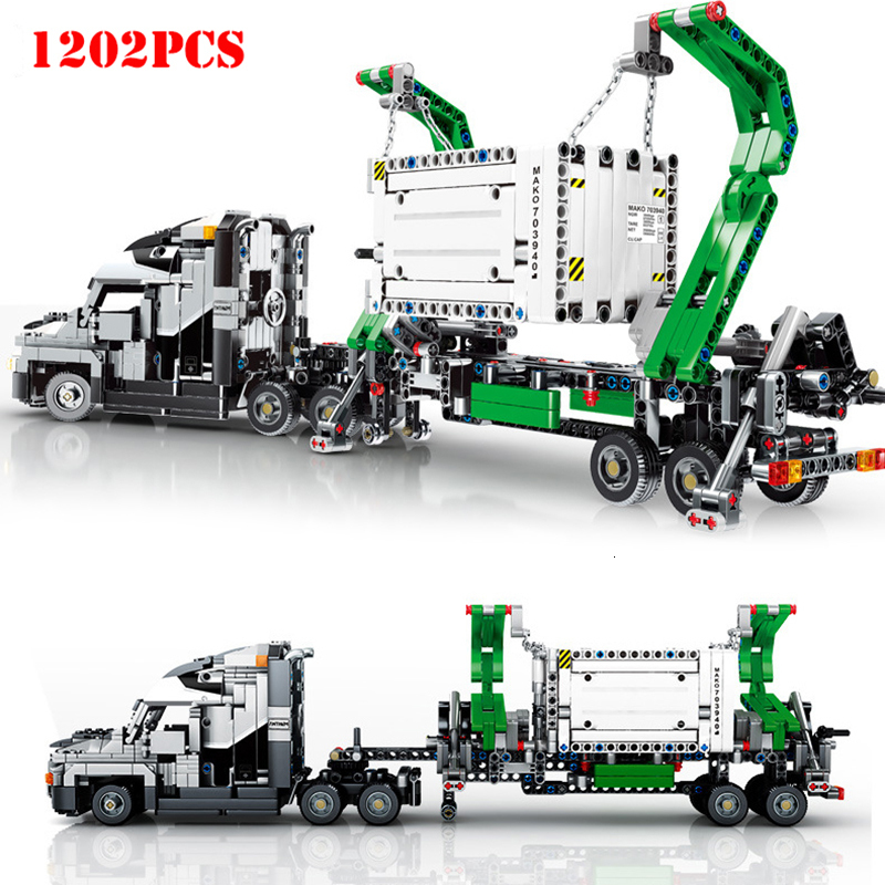 1202pcs Big Truck Vehicles Car Building Blocks Toys City Engineering Mark Container Block Compatible Legoing Technic Bricks