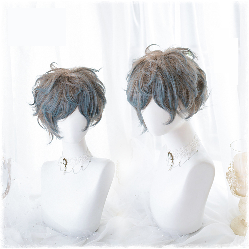 Original Lolita Cosplay Wigs High-temperature Fiber Synthetic Hair Flaxen Blue Gradient Short Curly Hair + Free Hair Cap