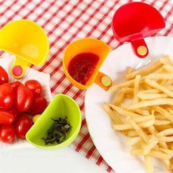 4PCS lot Dip Saucers Assorted Salad Sauce Ketchup Dip Clip Cup Bowl for Tomato Salt Vinegar