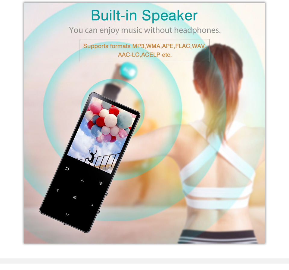 Redant MP4 Speler Met Bluetooth Ingebouwde Luidspreker Touch Key Fm Radio Video Play E-Book Hifi Metalen Mp 4 Muziekspeler 8G 16G 32 Gb 5