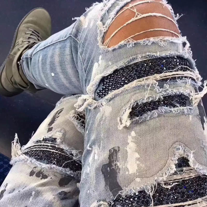 Fashion 2020 Black Rhinestone Elastic Jeans Men Vintage Slim Denim Pencil Pants High Street Frayed Ripped Hole Casual Trousers