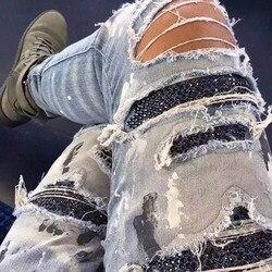 Mode 2020 Schwarz Strass Elastische Jeans Männer Vintage Dünne Denim Bleistift Hosen High Street Ausgefranste Ripped Loch Casual Hosen