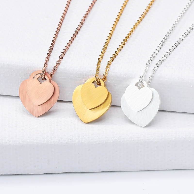 Stainless Steel Double Love Heart Necklace Women Collares Mujer Gold Chain Choker Necklaces Pendents Jewelry Bridesmaid Gifts in Pendant Necklaces from Jewelry Accessories