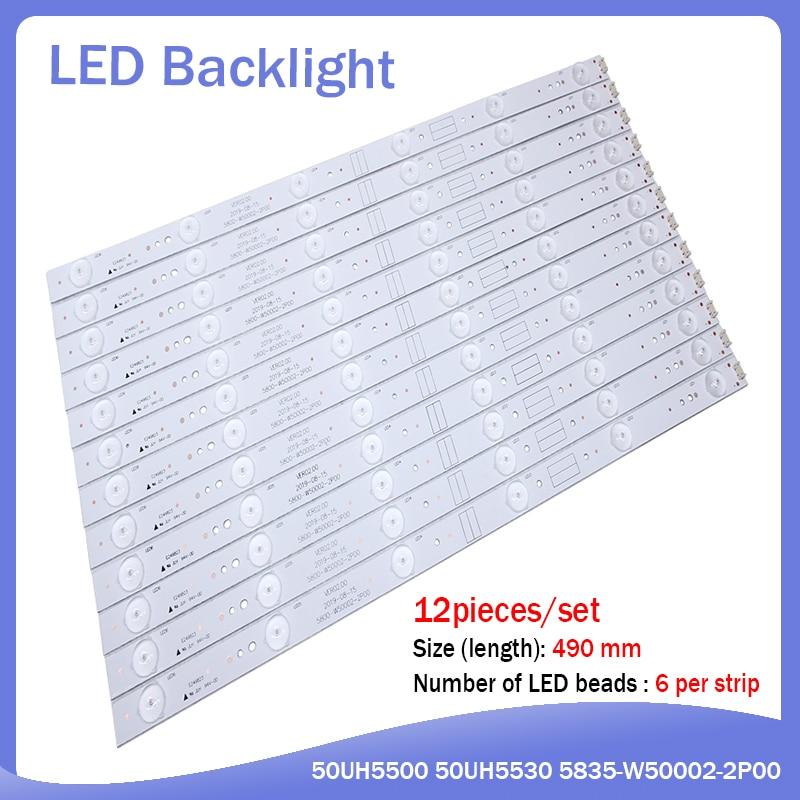 New 12 Pieces/set 490mm LED Backlight Strip For 50UH5500 50UH5530 5835-W50002-2P00 5800-W50002-0P00 6P10 2P00 6P00 APT-LB14023