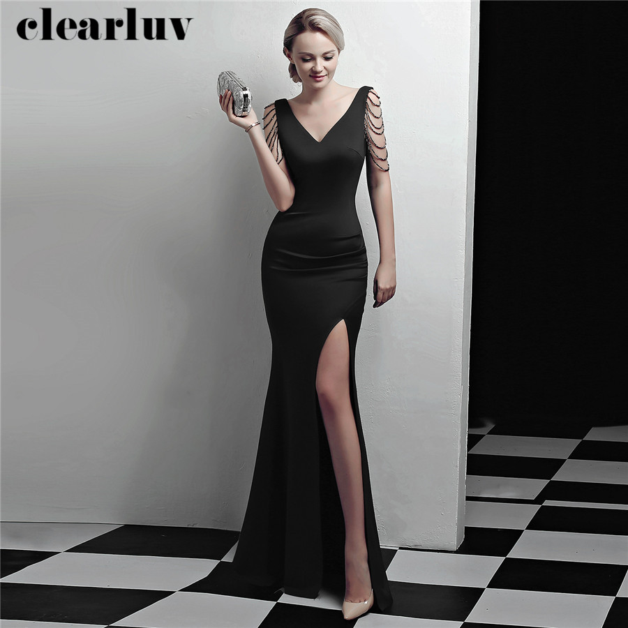 Evening Dress Black Long Stylish Split Party Gown DX322-4 2020 Plus Size Robe De Soiree New Beading Sleeveless Women Formal Gown