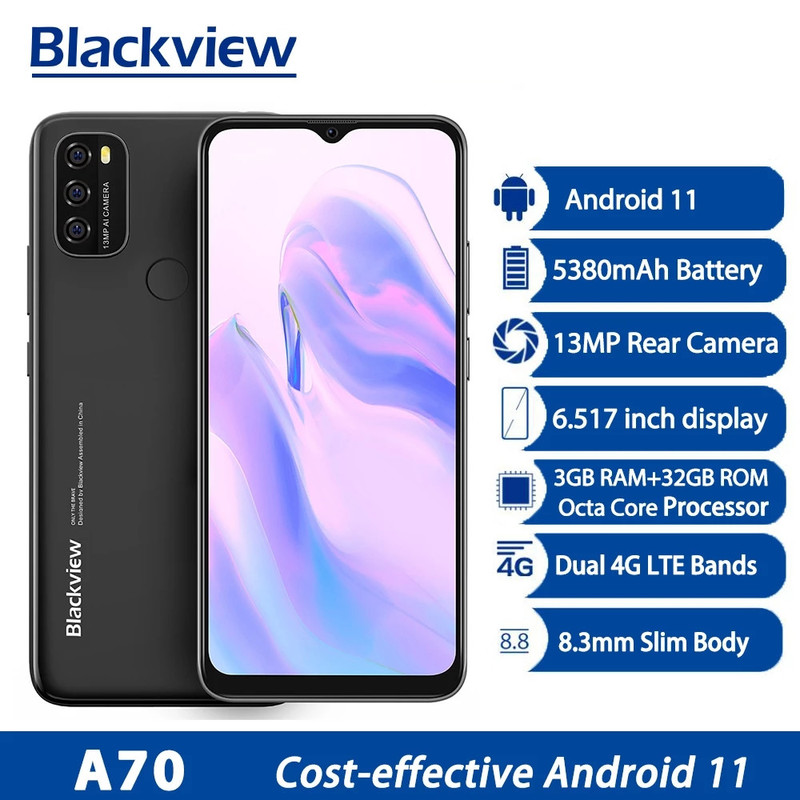 2021 Blackview A70 Android 11 смартфон 6,517 дюймов Дисплей Octa Core, 3 Гб оперативной памяти, Оперативная память + 32 ГБ Встроенная память 5380mAh13MP сзади Камера 4G м...