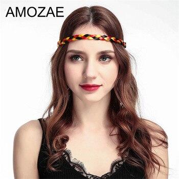 Nowe kobiety w stylu Vintage peruka z pałąkiem na głowę warkocze pasma włosów Amozae dziewczyny Korea styl pałąk pani akcesoria do włosów puchar świata flaga pleciony