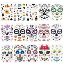 Mask Temporary Tattoos Stickers Day of The Dead Skull Face Halloween Party Cool Beauty Tattoo Waterproof Transfer Body Art