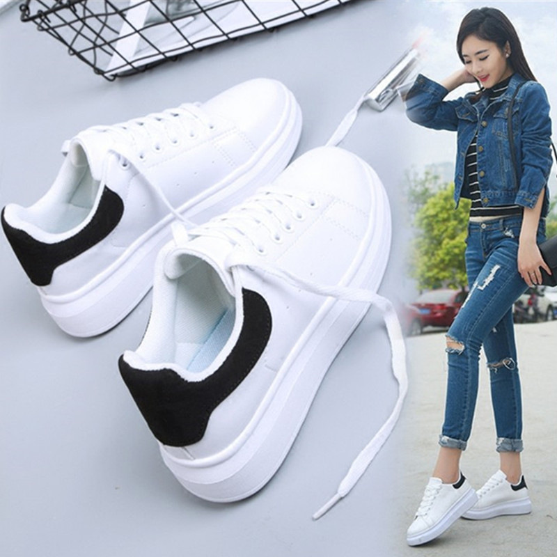 White Sneakers Female Spring And Autumn Students 2019 New Wild Flat Sports Running Shoes Thick Bottom Shoes Sneakers Women ZQ-72