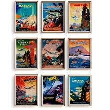 Pan Am aerolíneas viajes por Clipper Caribbean lienzo pintura Vintage Kraft niños póster clásico arte de pared pegatinas para guardería