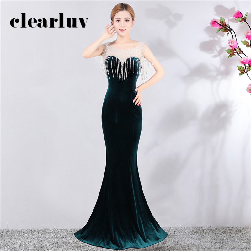 Evening Dress Green Tassel Party Dress 2020 DX395-2 Long Plus Size Formal Party Gown Sleeveless Mermaid Abendkleider With Pearls