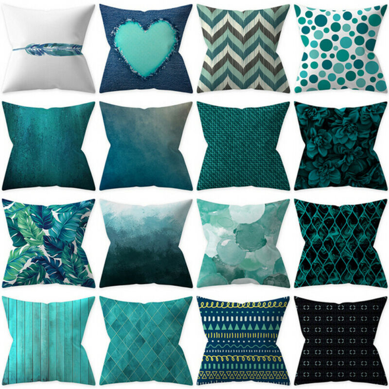 Blue Polyester Pillow Case Waist Throw Geometric Pillow Cover Cushion Square Case