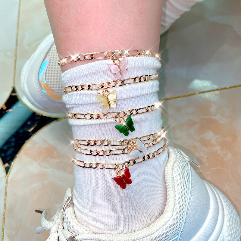 Flatfoosie 2Pcs/Set Gold Color Copper Anklet Simple Butterfly Pendant Anklet for Women 2020 Fashion Summer Beach Foot Jewelry