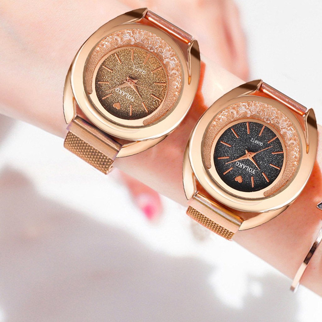 Exquisite Rose Gold Women Watches Luxury Crystal Flow Beads Mosaic Diamond Quartz Mesh Belt Magnetic Buckle Watch Montre Female