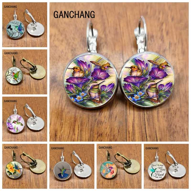 Anting-Anting Hummingbird Cabochon Perhiasan Anting-Anting Terakhir Hadiah Anting-Anting