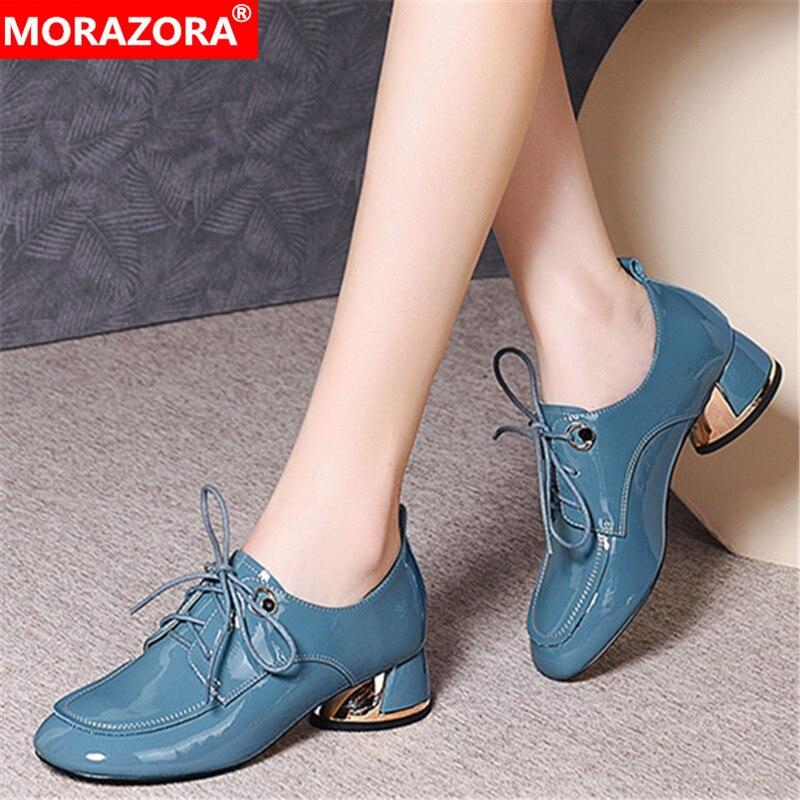 MORAZORA Plus Size 33-43 2020 Spring Fashion Casual Shoes Genuine Leather Lace Up Women Pumps Black Blue Color Ladies Shoes