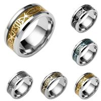 MIXMAX 20pcs Men ring Jesus Fish Cross High Quality 316L Stainless Steel Jewelry Rings wholesale lots bulk