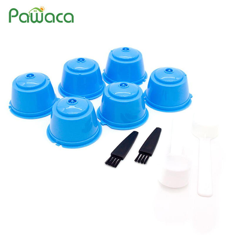 6PCS Reusable Coffee Capsules Refillable Coffee Filters Cup Coffee Pods Compatible With All Nescafe Dolce Gusto Nestle Machines