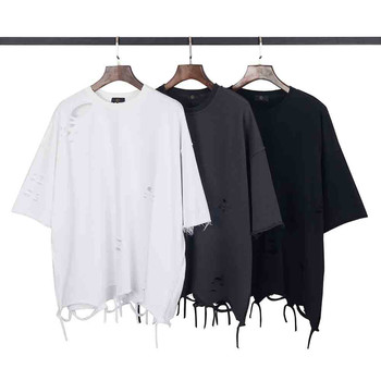 hip hop streetwear hipster men clothes kanye west clothing mens curved hem ripped tee shirts oversize t shirt pocket patched plaid curved hem shirt dress